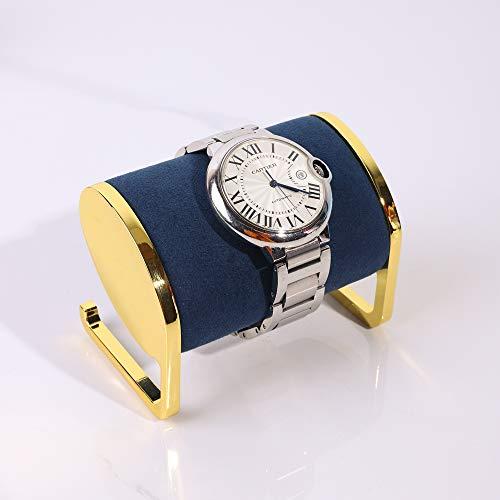 Soporte exhibidor de reloj metal dorado y terciopelo azul