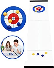 Hoqiang Table Top Curling Game Family Games for Kids and Adults Shuffleboard Pucks Table and Curling Set Indoo