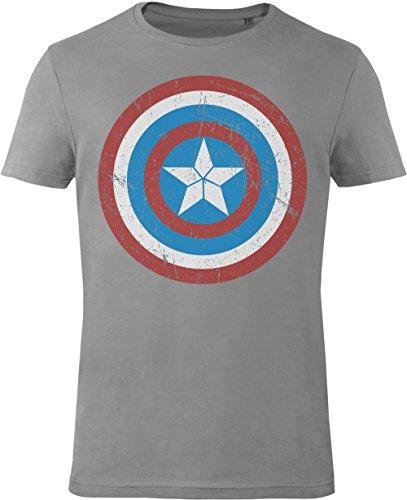 GOZOO Avengers T-Shirt Herren Captain America's Shield 100% Baumwolle Grau
