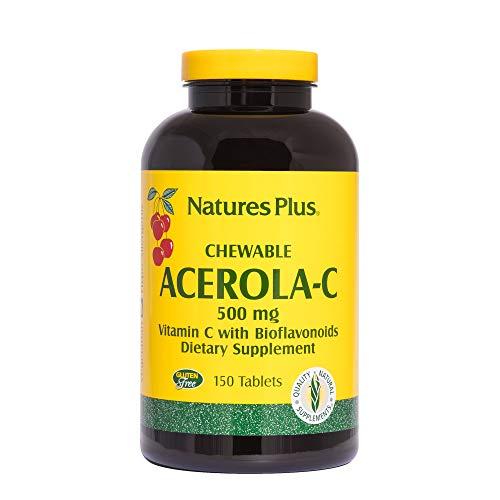 Natures Plus Acerola-C Complex Chewable, 500 mg Vitamin C, 150 Vegetarian Tablets - Whole Fruit Supplement, Promotes Immune Support, Antioxidant - Gluten Free - 150 - Plus Acerola Vitamin