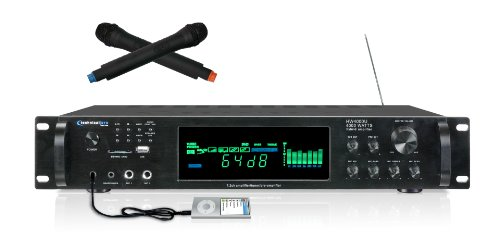 Technical Pro HW4000U Digital Hybrid Amplifier/Preamp/ Tuner with USB/SD Card Inputs and Dual Wireless Microphones
