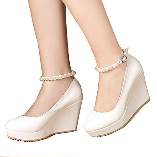 White High Wedge - getmorebeauty Women's Wedge Mary Jane Diamonds Party Dress High Heel (10 B(M) US, White)