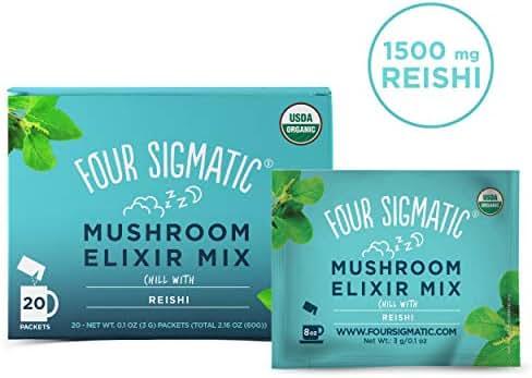 Four Sigmatic Reishi Mushroom Elixir - USDA Organic Reishi Mushroom Powder - Natural Calm, Relax, Sleep - Vegan, Paleo - 20 Count