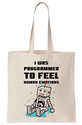 To Tote Emotions Canvas Feel Programmed Bag I Human Was AZ70E