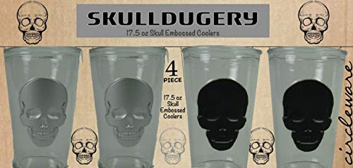 Circleware 76968 SkullDugery Heavy Base Highball Cooler Set of 4 Home Kitchen Party Drinking Glass Tumbler Cups for Water, Juice, Milk, Beer, Whiskey, Vodka, Farmhouse Decor & Gifts 17.5 oz Skull ()
