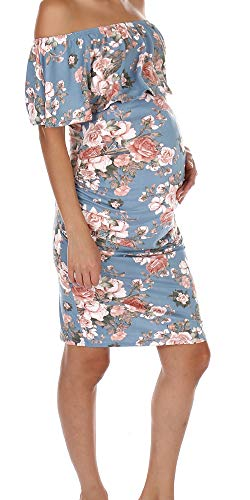 c2dfa972eecf4 J Mind Women's Floral Ruffle Off Shoulder Maternity Dress Baby Shower - Made  in USA (
