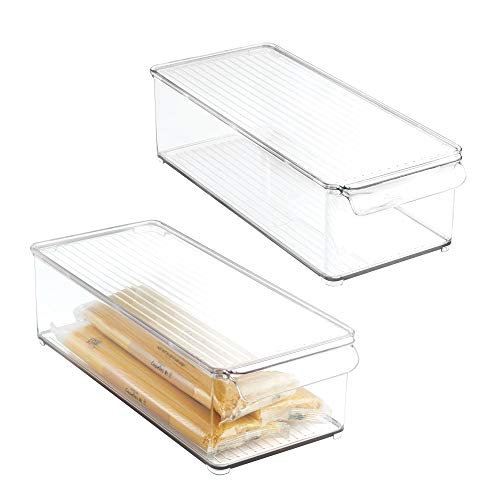 mDesign Plastic Food Storage Container Bin with Lid and Handle - for Kitchen, Pantry, Cabinet, Fridge/Freezer - Organizer for Snacks, Produce, Vegetables, Pasta - BPA Free, Food Safe - 2 Pack, Clear