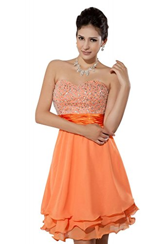 Chiffon Orange mit Gurt Orange BRIDE Cocktailkleid GEORGE Bq7Rw1