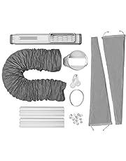 AEG AWK03 Premium Window Kit (eenvoudig te installeren, raamafdichtingsset, uittrekbaar, textielafdichting, geschikt voor alle draagbare airconditioners met een diameter van 15 cm, grijs/wit)