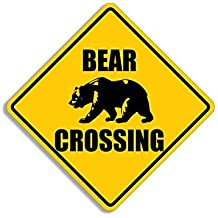 MAGNET BEAR Crossing Sign Shaped Magnetic Sticker (hunt aution decal)