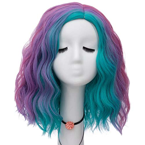 Lefinis Short Multi-colored Synthetic Heat Resistant Women Fashion Hairstyles Halloween Costume Cosplay Party Wigs -