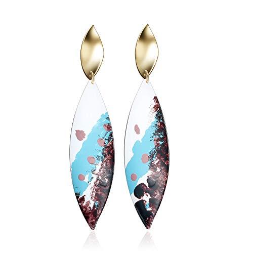 Graffiti Leaf Hypoallergenic Long Earrings - Fashion Unique Creative Personality Gold Dangle Drop Piercing Earrings for Women Girls -