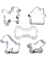 Dog Cookie Cutter Set , 5-Piece-Bone Sandwich Cutter and Dog House Shaped Cookie Cutter,Stainless Steel Biscuit Cutters for Kid