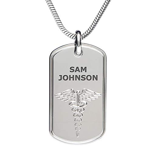 Divoti Deep Custom Laser Engraved Stainless Steel Medical Alert Necklace for Men, Classic Tag Medical ID Necklace, Medical Dog Tag w/Free Engraving -Snake Chain 28 in (Best Diabetes App 2019)