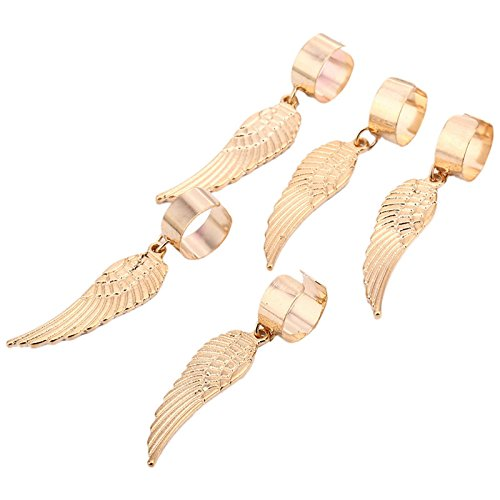Baba 5 pieces Gold Alloy Feather adjustable plated Braiding DIY Accessory Dread lock Hair Beads Hair Braid Pins Rings Cuff Clips Tibetan Jewelry Decor