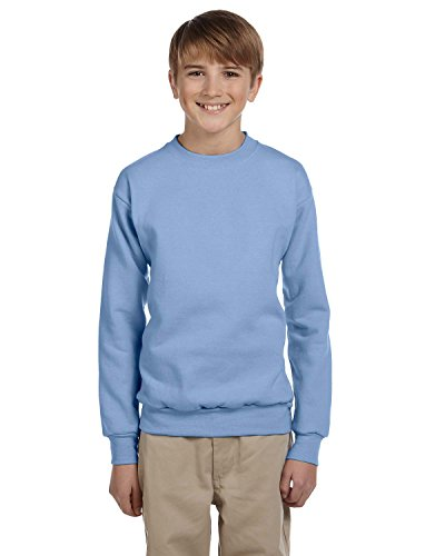 Hanes Youth 7.8 oz 50/50 Crewneck Sweatshirt in Light Blue - Medium (10/12)