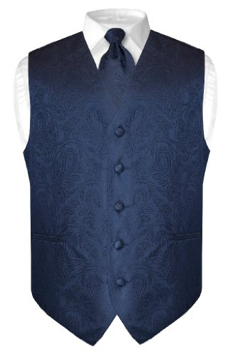 Men's Paisley Design Dress Vest & NeckTi - Navy Blue Dress Vest Shopping Results