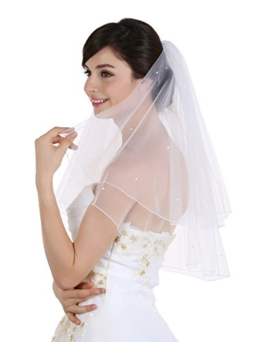 - 2T 2 Tier Pencil Edge Circular Rhinestone Veil - Ivory Shoulder Length 25