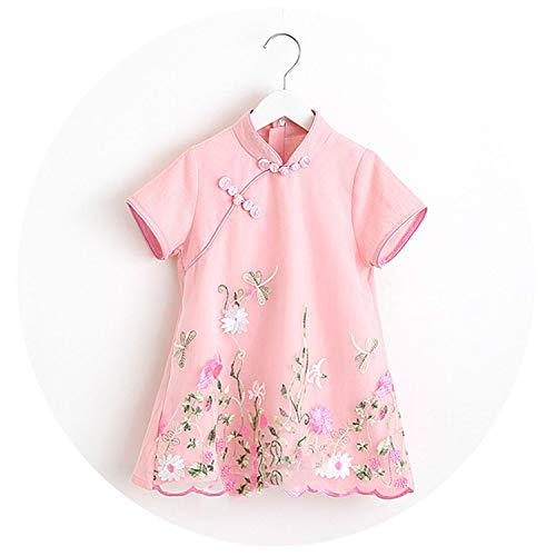 LittleNaNa-Cloth-childrenscostume Baby Girl Short-Sleeves Cotton Classical Cheongsam Pastoral Style Costume Embroidered,Pink,4T]()