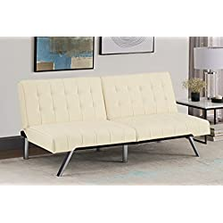 1 Of DHP Emily Futon Sofa Bed, Modern Convertible Couch With Chrome Legs  Quickly Converts Into A Bed, Rich Vanilla White Faux Leather