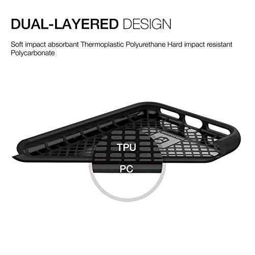 PATCHWORKS Nivel ITG rugosa textura lateral protección antigoteo anti-huellas dactilares superficie mate slim fit caja sólida negro Negro para iPhone 8 y 7