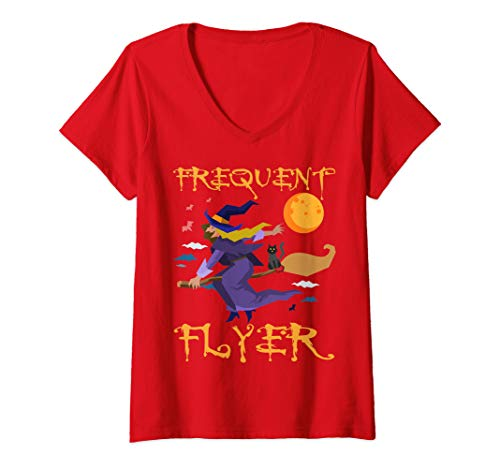 Womens Frequent Flyer Witch Shirt Last Minute Halloween Costume V-Neck