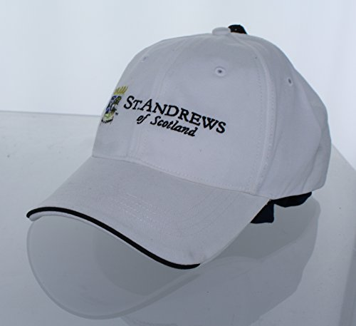 New! St. Andrews of Scotland Adjustable Buckle Back Hat Embroidered Golf Cap - White