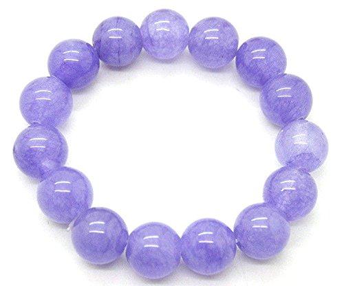 - 12mm 100% Natural A Grade Lavender Jade Jadeite Round Beaded Bangle Bracelet