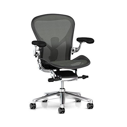 Cheap Herman Miller Aeron Task Chair: Tilt Limiter/Seat Angle – PostureFit SL – Fully Adj Arm + Armpad Depth – Black Vinyl Armpad – Carpet Caster