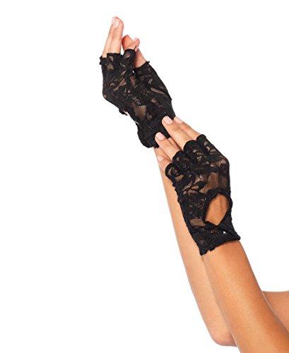 Lace Keyhole Fingerless Gloves (Leg Avenue 2724 Women's Lace Keyhole Fingerless Gloves - Black - One Size)