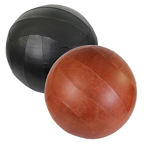 Sitzball Cover + Gymnastikball und Pumpe 65 oder 75 cm Schwarz oder Cognac Braun | Rindsleder, Büffelleder und Kunstleder | Fitnessball, Medizinball, Sitzball antiburst (Büffelleder Cognac, 65 cm)