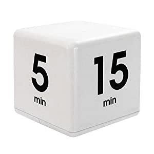 The Miracle Cube Timer, 5, 15, 30 and 60 Minutes, for Time Management, Kitchen Timer, Kids Timer, Workout Timer, White