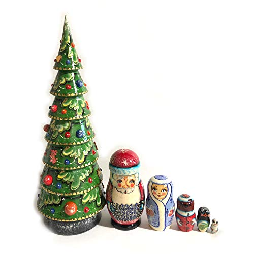 World Faith Russian Nesting Doll Size 6 Nested Wooden Tree Santa Claus Snowman Snowmaden Bear and Penguin 17 3/4 Inch Tall Nesting Doll by World Faith (Image #1)
