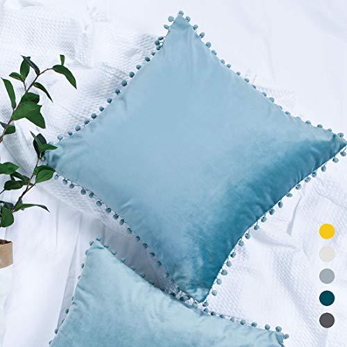 YINFUNG Pom Pillow Covers Light Blue 18x18 Velvet Throw Pillow Cases Lake Blue Pompon Fringe Pom-pom Trim Ball Tassel Frill Girls Gifts Kids Couch Toss Pillow Cover Set of ()