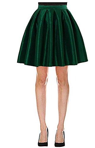 Omelas Women Short Pleated Flare Skater Full Skirt Satin Prom Party Skirts Dress, X-Large, Dark Green