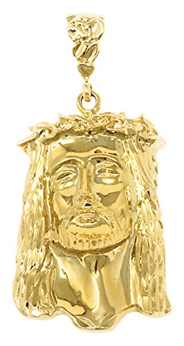 The Bling Factory Men's Large 14k Gold Plated Crown Of Thorns Jesus Piece Pendant + Microfiber Jewelry Polishing Cloth (Jesus Yellow Pendant Gold)
