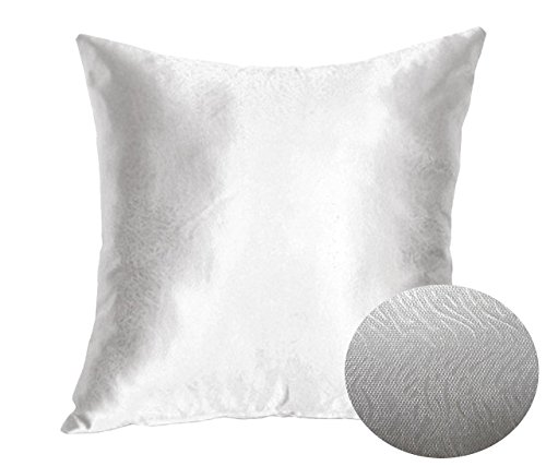 Silver Steel Grey 16quot x 16quot Decorative Textured Satin Cushion Cover Throw Square Pillowcase for Chair Sofa Living Room Accent Pillow