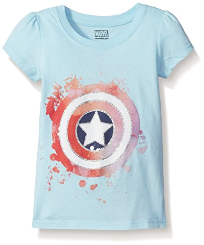 Marvel Little Girls' Toddler Thor, Captain America or Spiderman T-Shirt, Captain America Light Blue, 5T (America Girls Clothes compare prices)