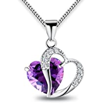ANEWISH Woman's Blue Heart Crystal with Silver Heart Pendant Necklace, Sterling Silver Chain. Free Blue Jewellery Box, Beautiful Gift for Girls.Length:45cm