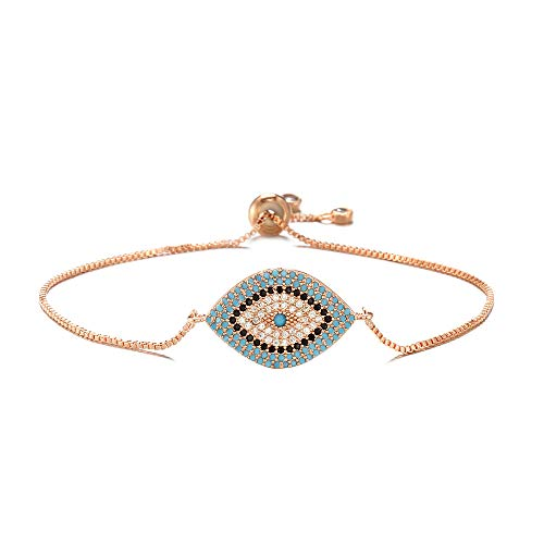 18k Gold Evil Eye - NEWBUY Trendy Gold Plated Turkish Evil Eye Bracelet Pave CZ Blue Eye Gold Chain Bracelet Adjustable Female Party Jewelry (Rose Gold-1)