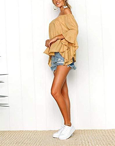 Camicetta Tromba Top Di Grazioso Gelb Shirts Senza Bretelle Eleganti Spalla Maniche Estivi Sciolto Del Moda Irregular Carmen Parola Donna Bluse Monocromo Casuale x4AR88