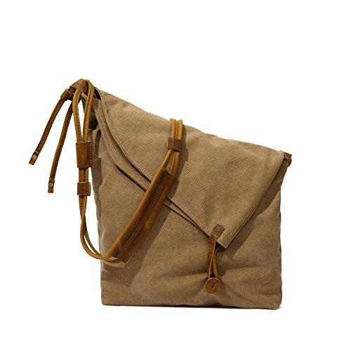 La versión coreana de la bolsa de hombro _ dirección bolsa de tela bolsa de la lona arte retro package versión coreana de la cremallera 29cm*11cm*32cm, caqui