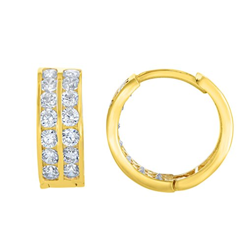 5mm Medium Hoop Earrings (Solid 14K Yellow Gold 5mm Double Row Huggie Hoop Earrings with Cubic Zirconia Gemstones)