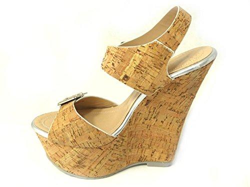 Ladies Womens - sandalias de plataforma con punta descubierta de tiras, hebilla o cuña, de tacón alto, en varios diseños y tallas 3, 4, 5, 6, 7, 8 plata