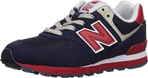 New Balance Boys' Iconic 574 V1 Running Shoe, Navy/RED, 5.5 M US Big Kid