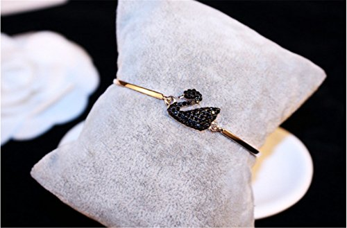 P.phoebus 18K Rose Gold Plated Bangle Bracelet Black Swan Swarovski Crystal Rhinestone Charms Pendant for Women Girls (12)