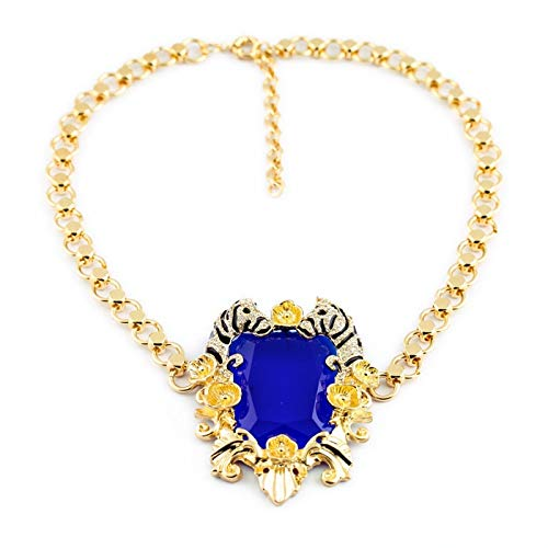 (WJNKGHG 18k Handmade Necklace Large Blue Birthday Stone Rhinestone Women Statement Necklaces)