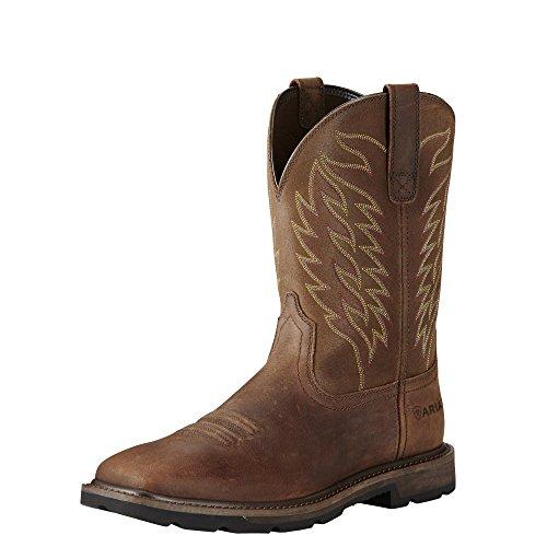 Ariat Men's Groundbreaker Wide Square Steel Toe Western Work Boots - Pull-On Footwear - Brown 13 C (Toe Ariat Heels Steel)