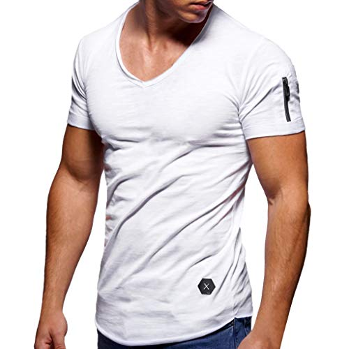 Men's Summer T-Shirt Zipper Slim Fit Solid Shirt Short Sleeve Top Round Neck Casual Work Sport Muscle Tee White