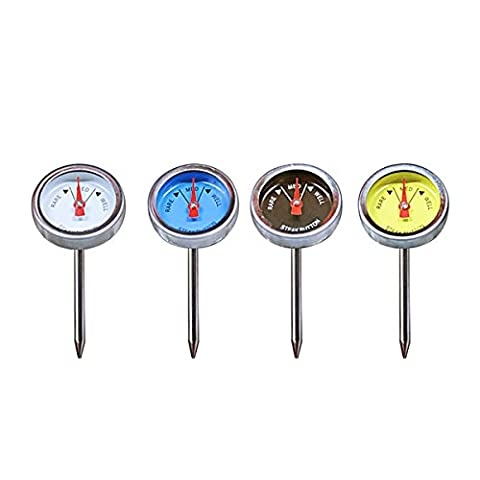 KT THERMO Steak Thermometer Food Safety Grade Mini Thermometer for Outdoor Grilling, Set of 4 - Thermos Bbq Grills